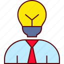 bulb, business, clever, head, idea, man icon
