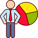 analytics, business, graph, man, pie, statistics icon
