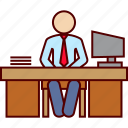 business, ceo, desktop, office, working icon