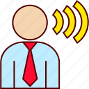 boss, businessman, order, shout, speech, talk icon