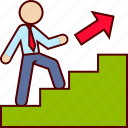 career, executive, promotion, stairs, up, work