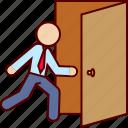 close, door, escape, escaping, exit, logout, man