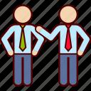 business, congratulate, hand, job, partner, shoulder icon