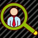 businessman, find, headhunter, magnifier, recruitment, search icon