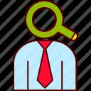 find, head, headhunter, magnifier, recruitment, search icon