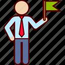 ambassador, businessman, delegate, flag, goal icon