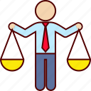 analysis, balance, business, businessman, decision, justice, scale icon