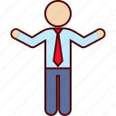arms, business, man, open, standing, wide icon