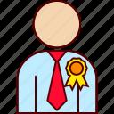 achievement, best, employee, executive, ribbon icon