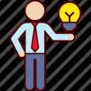 bulb, clever, good, idea, man, owner, presentation icon