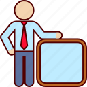 board, business, man, promotion, white icon