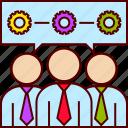 business, conversation, gear, group, people, process, teamwork