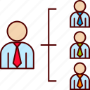 boss, business, direct, employees, horizontal, structure icon
