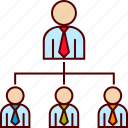 boss, business, direct, employees, structure, vertical icon