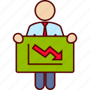 bankrupt, bankruptcy, board, business, decreasing, graphic icon