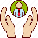 care, employee, hands, human, management, people, resources icon