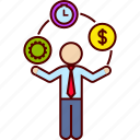 business, juggle, juggler, man, money, time, work icon