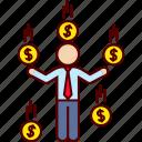 business, cash, money, profit, rain, success icon