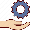 care, gear, hand, job, management, resources, work icon