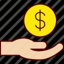 donation, finance, hand, job, money, salary, wage icon