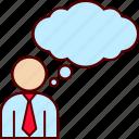 blank, business, executive, man, think, thinking