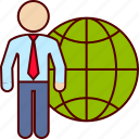 business, international, man, travel, traveler, world icon
