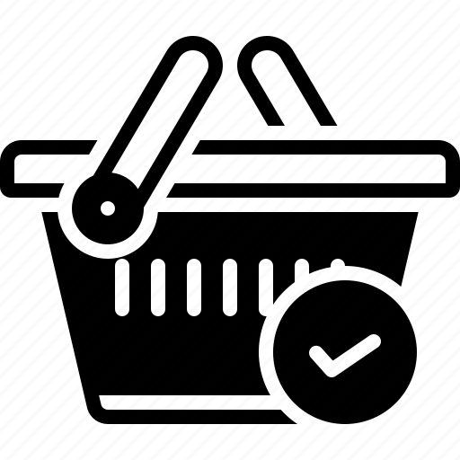 basket, buying, checked, commerce, grocery, merchandise, trolly icon