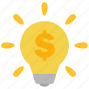 bulb, dollar, idea, lamp, light, money, smart icon