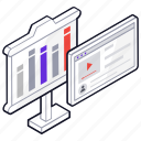 analytics, business presentation, online presentation, video presentation, video tutorial icon