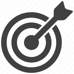 aim, arrow, bullseye, goal, market, niche, target icon