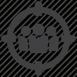 aim, arrow, bullseye, customer, goal, market, target icon