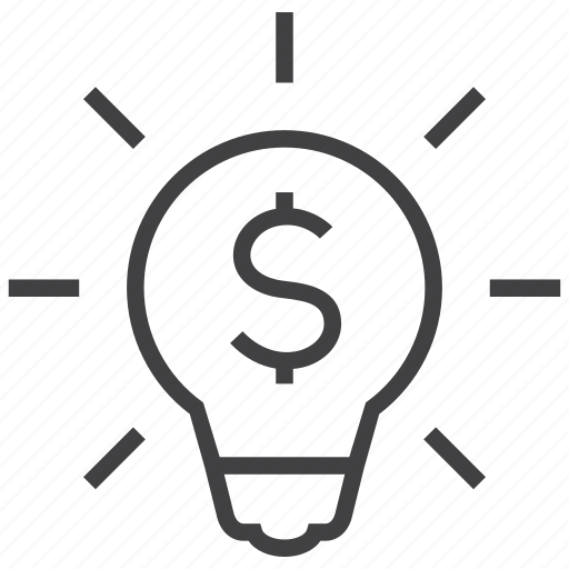 bulb, business, idea, lamp, light, money, profit icon