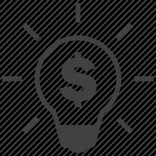 bulb, genius, idea, light, money, profit, smart icon