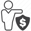 finance, money, payment, protector, secure, shield icon