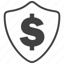 finance, money, profit, protection, security, shield icon