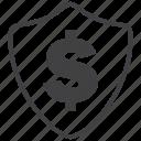 shield, finance, money, profit, protection, security