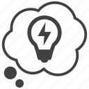 bubble, bulb, idea, light, thinking, thought, thoughts icon