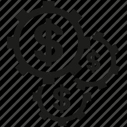 cog, dollar, gear, money icon