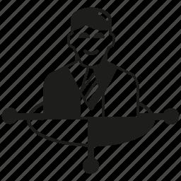 business man, direction, man icon