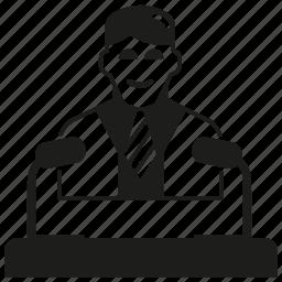 business man, leader, speaker icon