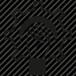gear, hand, labor, rise icon