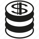 coin, money, stack of coin icon