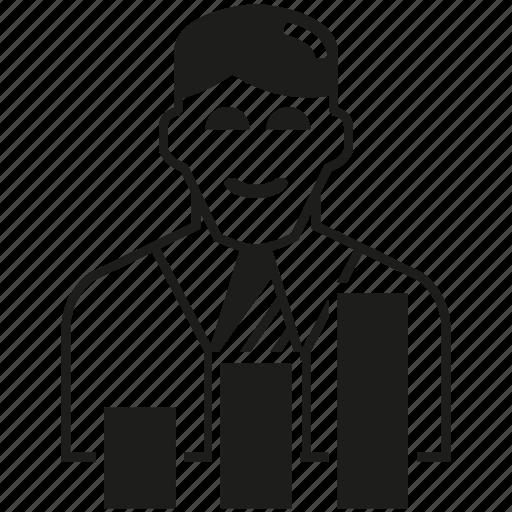 bar chart, business man, graph icon