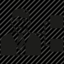 business man, office, organization chart icon