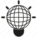 globe, idea, light bulb icon