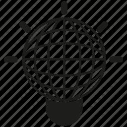 globe, idea, light bulb icon