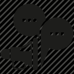 announce, bubble, chat, megaphone, speech icon