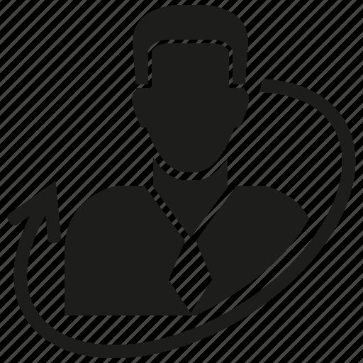 arrow, business man, man icon
