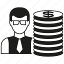 business man, coin, investor, money, stack of money icon
