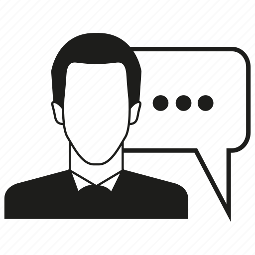 chat, man, speech bubble icon